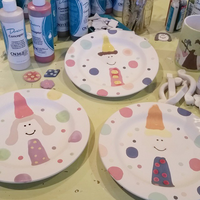 The other three kiddos are getting birthday plates! Painting on…