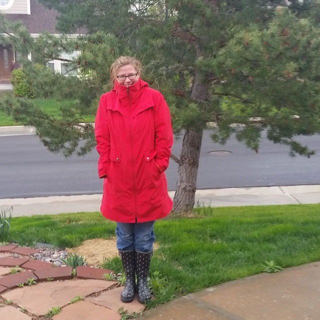 My height of fashion comes out when it rains! Red…