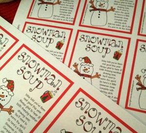 graphic regarding Snowman Soup Free Printable identify Unled