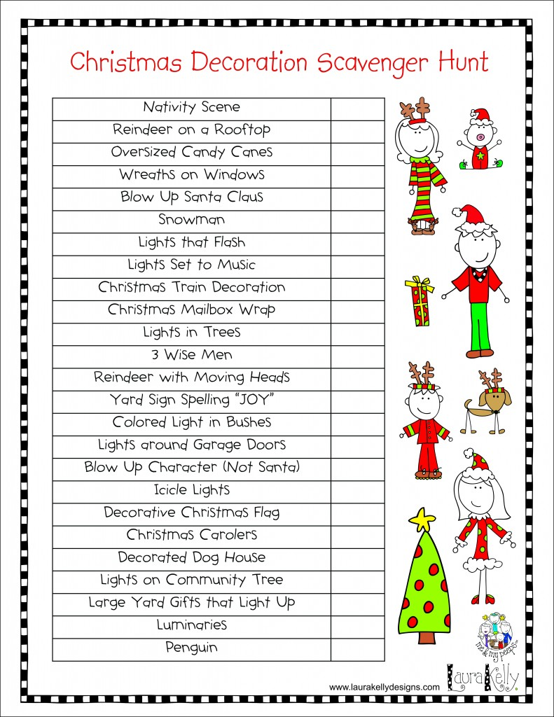 Family Holiday Lights and Decoration Scavenger Hunt ...