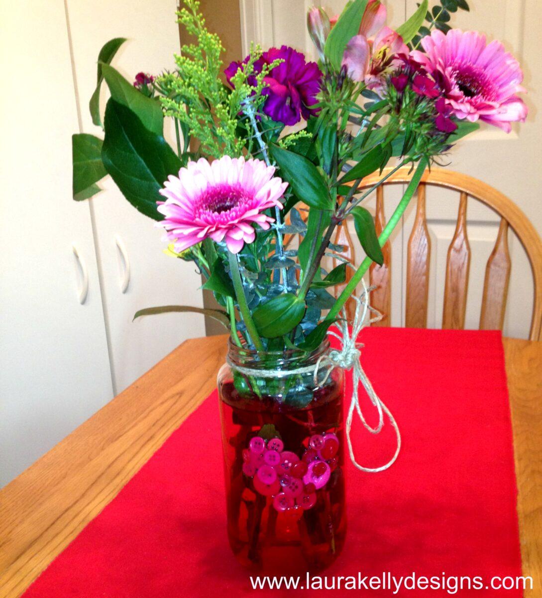 Recycled Olive Jar Turned Valentines Day Flower Vase