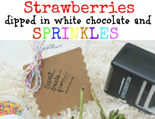 Strawberries Dipped in White Chocolate and Sprinkles