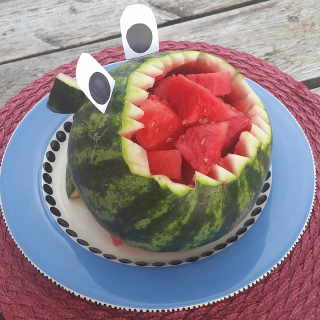 Shark Week is coming to an end.  I saw this idea on Pinterest.  I think mine is not scary and looks like a guppy needing a dentist!  Chalk it up as a happy, smiley kind of shark. #watermeloncarving #watermelon #sharkweek