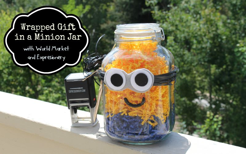 Minion Jar Gift Wrap with World Market and Expressionery