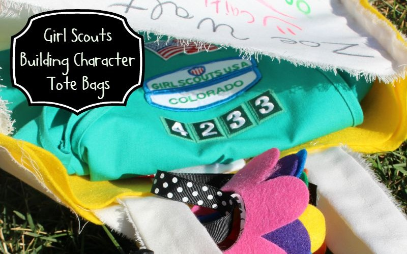 Girl Scout Character Bags with Rainbow Flowers
