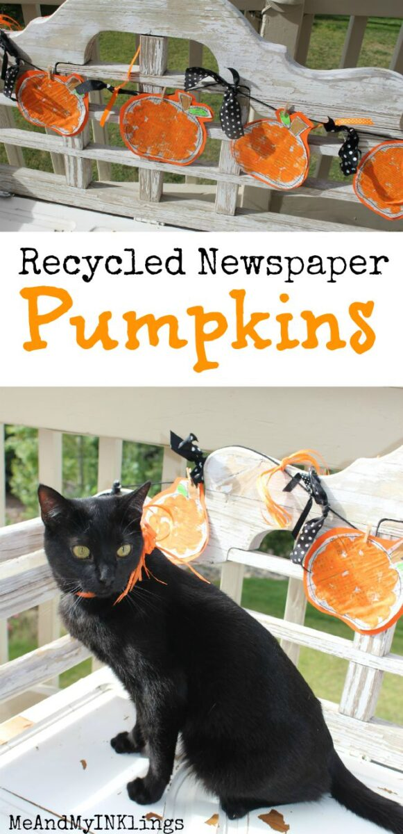 Pumpkin Newspaper Garland Pin