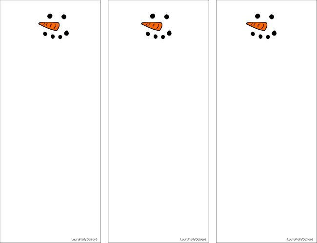 Snowman Note Printable