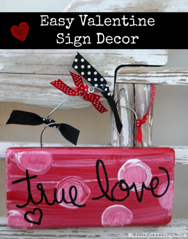 Hand Painted Valentine Sign Decor