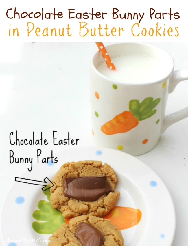 Chocolate Easter Bunny Parts In Peanut Butter Cookies