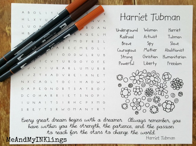 Harriet Tubman Word Search Puzzle Printable
