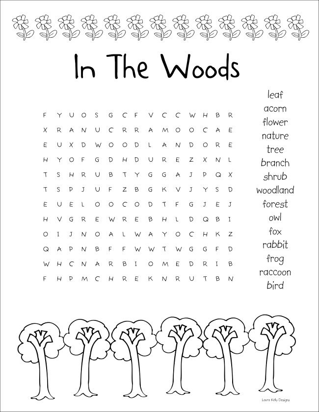 In The Woods Word Search Puzzle