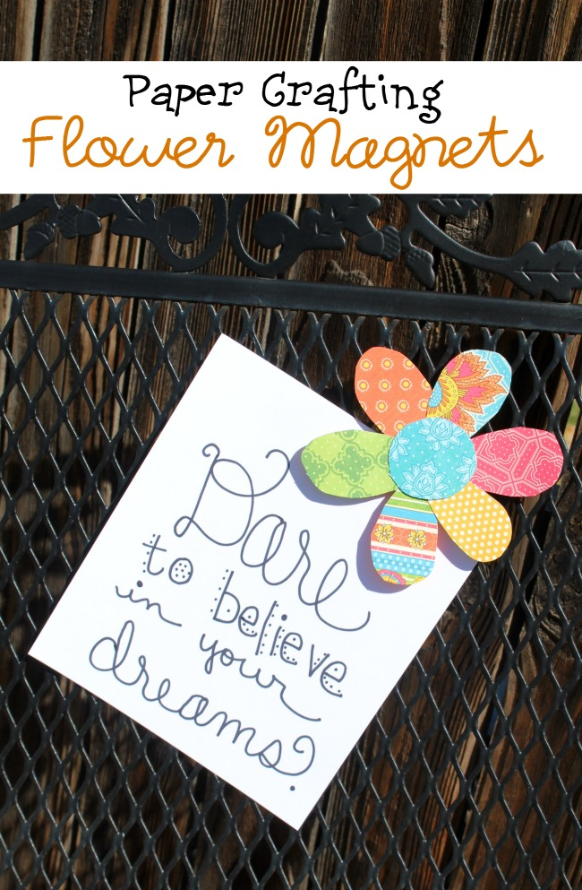 Paper Crafting Flower Magnets