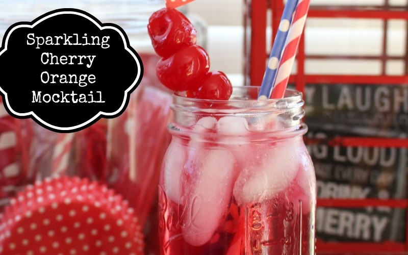 Sparkling Orange Cherry Mocktail for Memorial Day