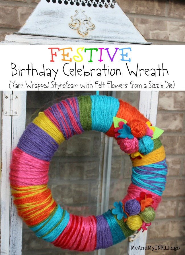 Festive Birthday Celebration Yarn Wrapped Wreath