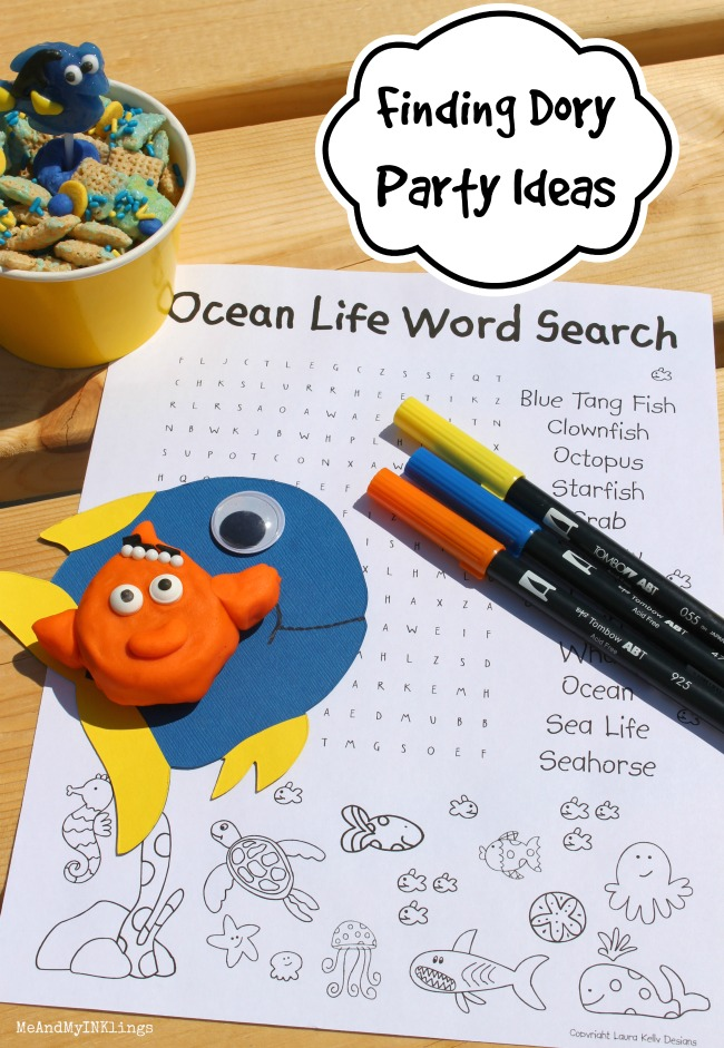 Finding Dory Party Ocean Life Word Search