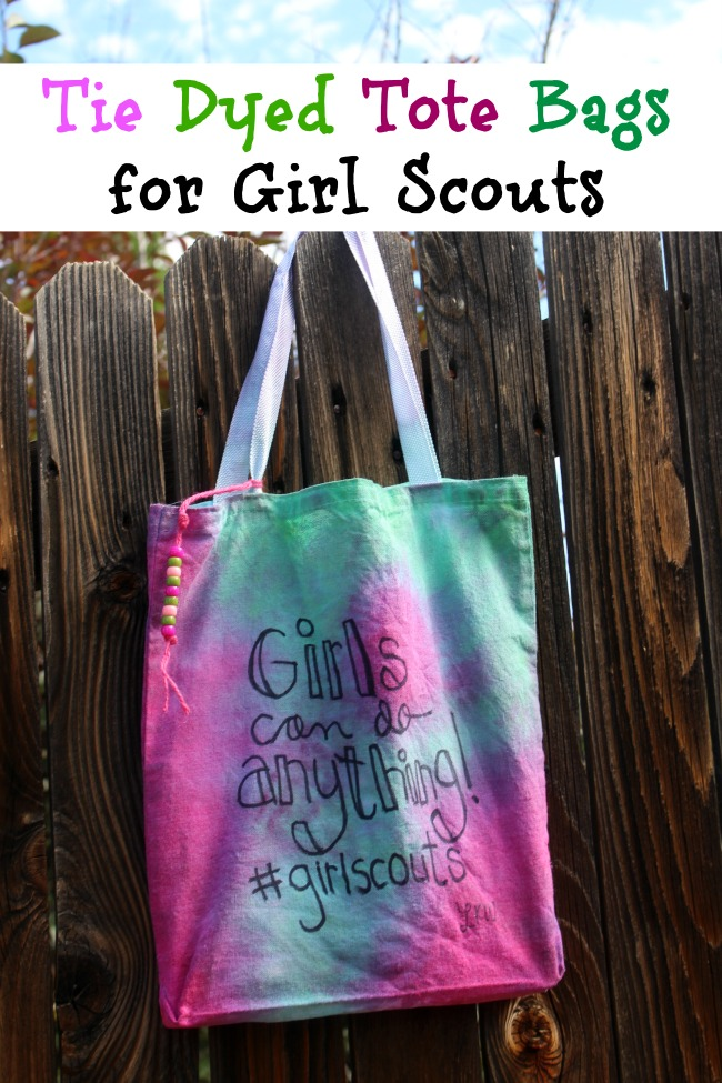 Tie Dyed Tote Bags for Girl Scouts
