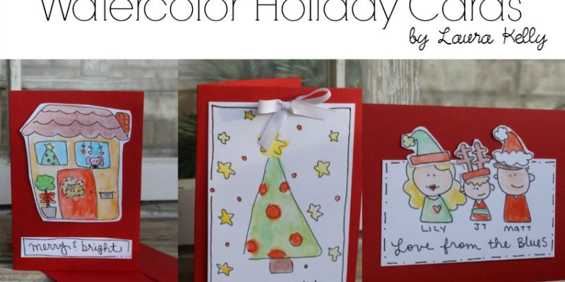 Watercolor Holiday Cards Label