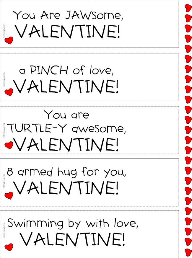 Sea Life Valentine Printable Laura Kelly