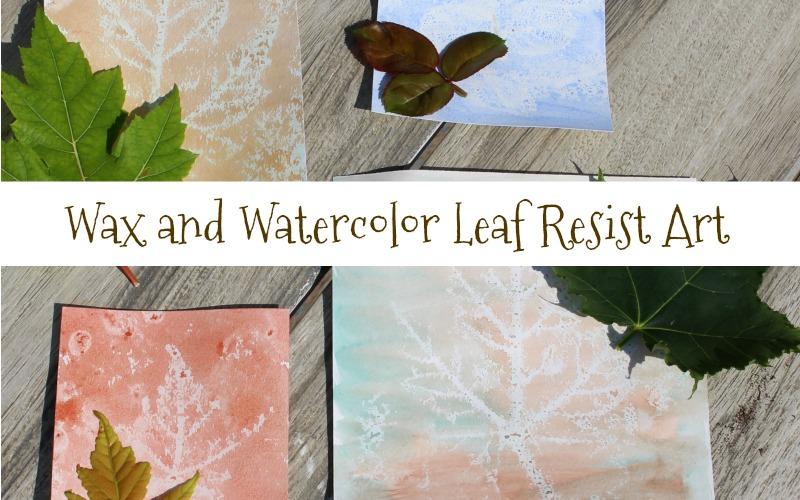 Wax and Watercolor Leaf Resist Art