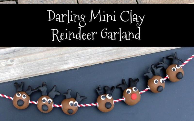 Mini Handmade Clay Reindeer Garland