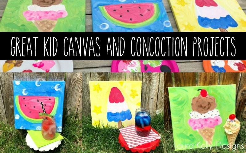 Three Summertime Kid Canvases with Concoctions