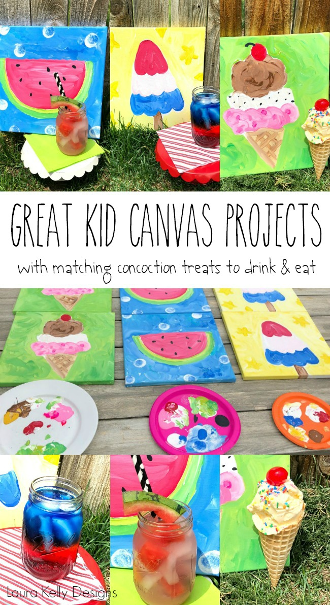 Three Summertime Kid Painting Canvases with Sweet Concoctions