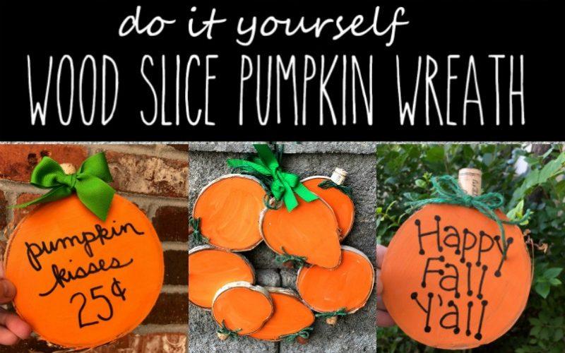 Wood Slice Pumpkin Wreath and Pumpkin Signs