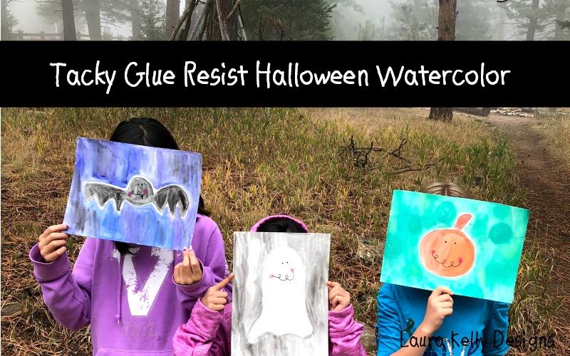 Tacky Glue Resist Watercolor Art for Halloween