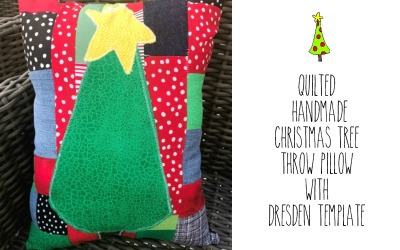 Quilted Christmas Tree Throw Pillow