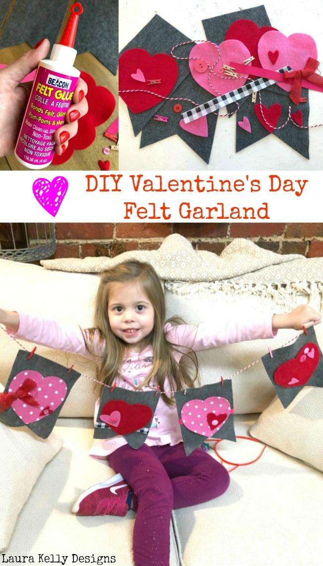 Felt Valentines Day Garland DIY for Beginning Crafters