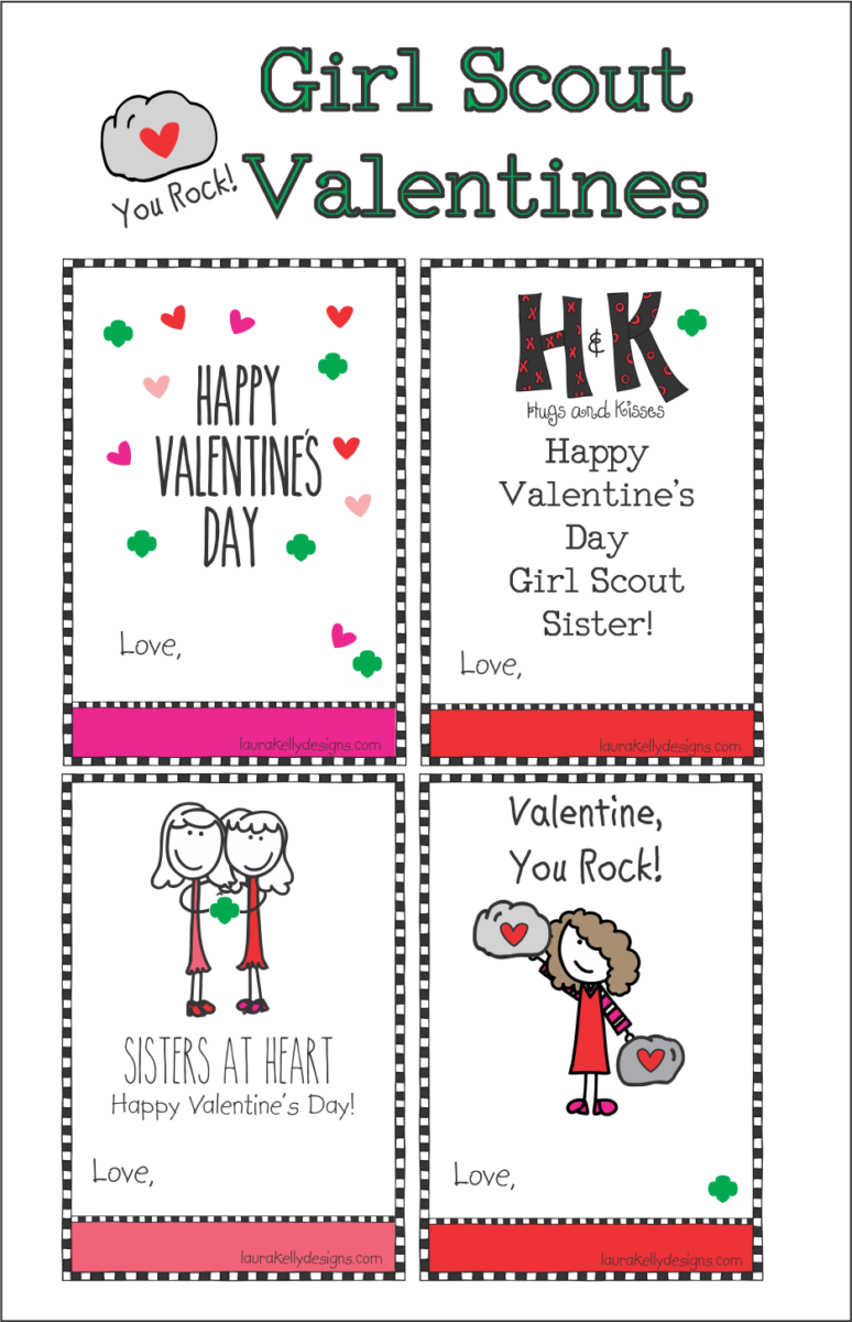 image regarding You Rock Valentine Printable referred to as Female Scout Valentines - Laura Kellys Inklings