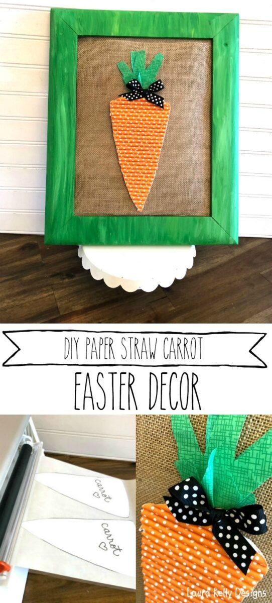Carrot Easter Home Decor DIY Straw Art