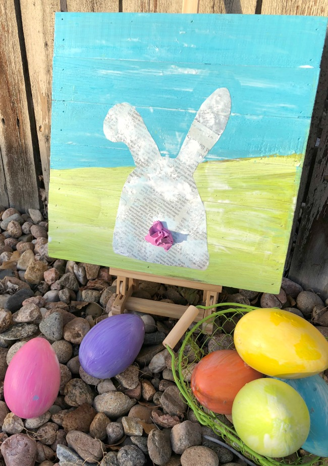 Mixed Media Easter Bunny Canvas Art