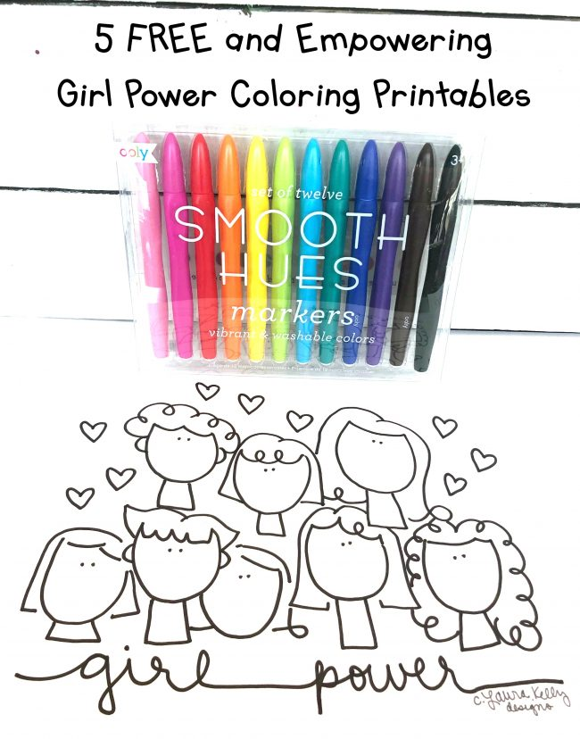 Girl Power Coloring Sheet Printables FREE Laura Kelly Designs