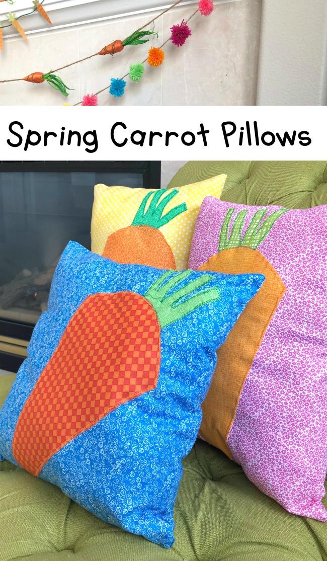 DIY Spring Carrot Fabric Pillows