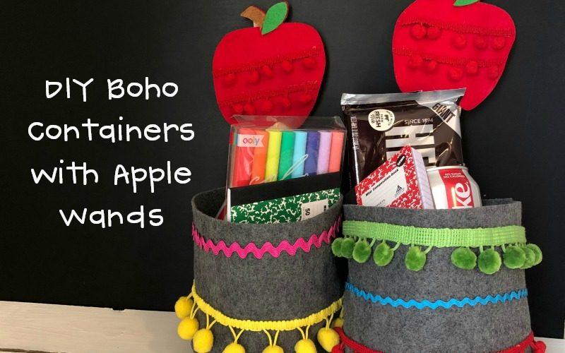 DIY Boho Teacher Container with an Apple Wand