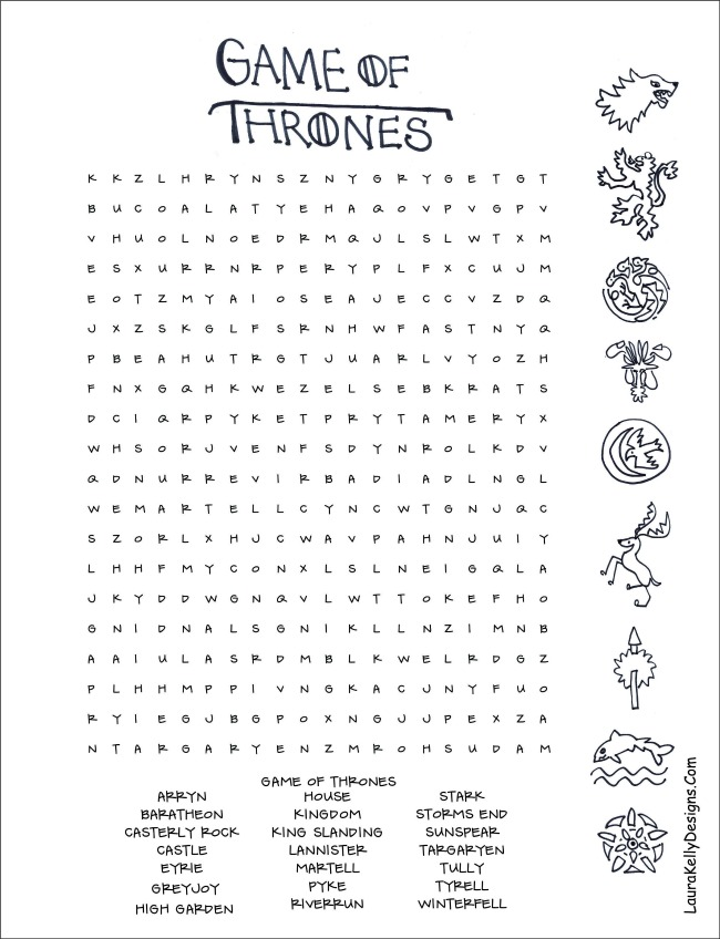 Game of Thrones Word Search Puzzle Printable