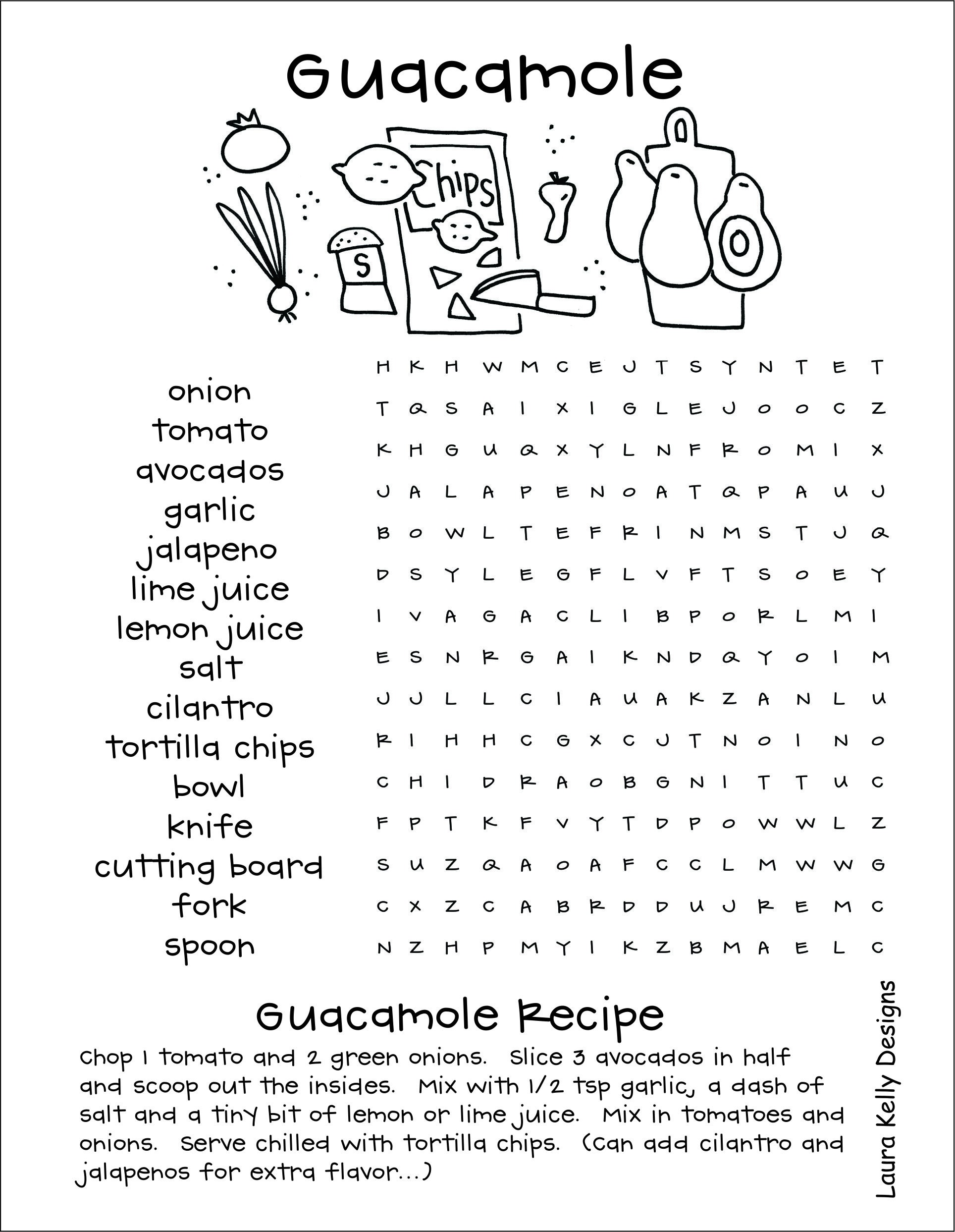 Guacamole Word Search and Recipe
