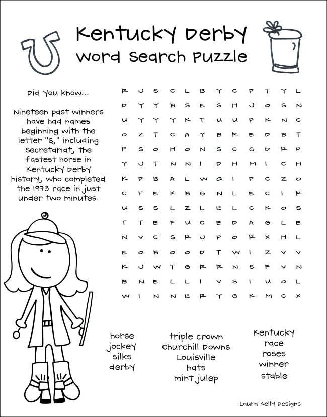 Kentucky Derby Word Search Puzzle Printable
