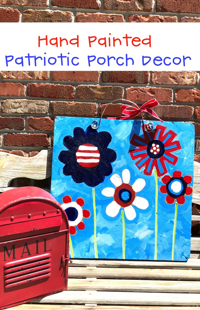 Hand Painted Patriotic Porch Decoration Wood Sign