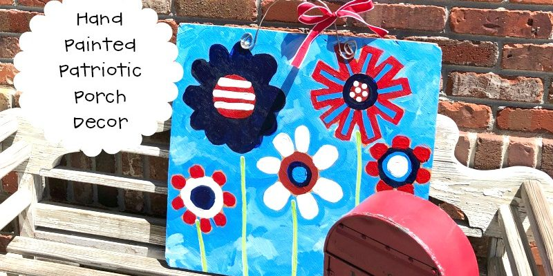 Hand Painted Patriotic Porch Sign Decoration