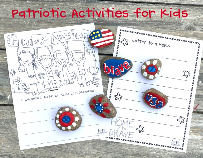 Patriotic Activites for Kids Rock Painting and Printables