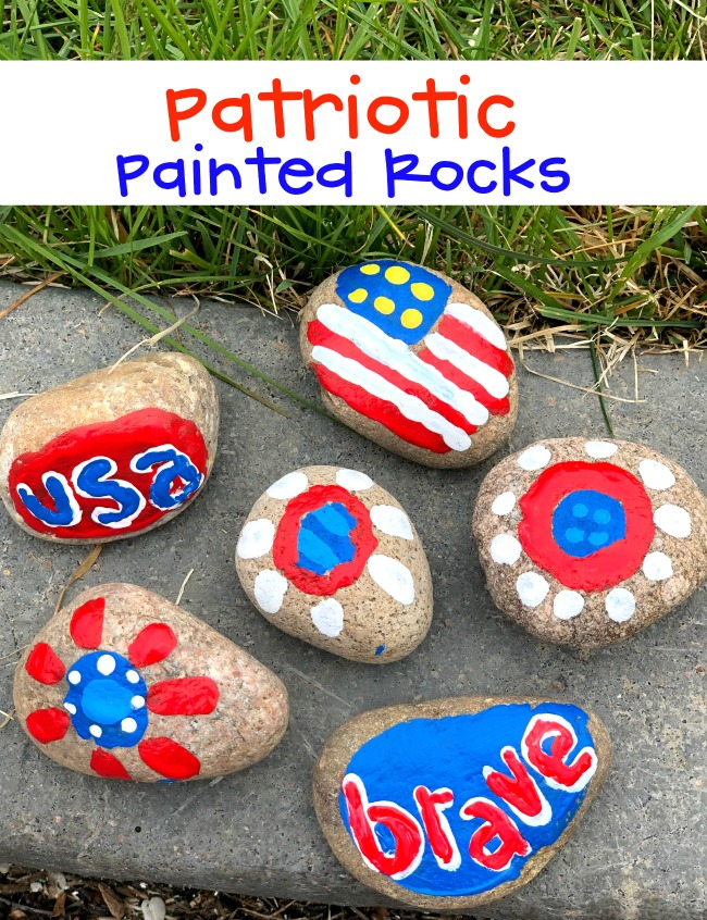 Patriotic Painted Rocks Craft Project