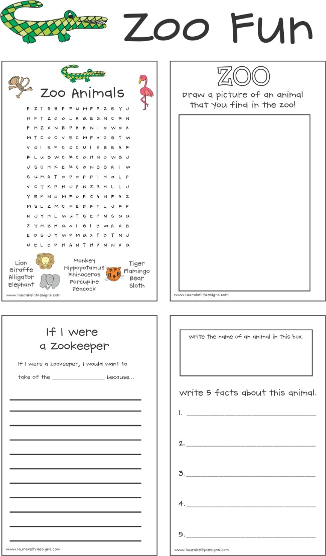 Free Zoo Animal Printable and Activities for Summertime Glitter Journals