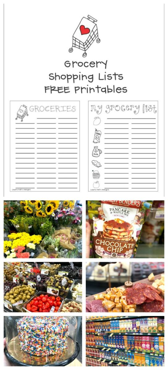Grocery Shopping list Free Printable Downloads Laura Kelly Designs