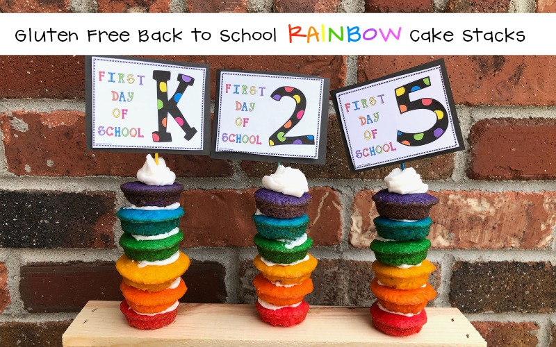 Gluten Free Allergy Friendly Back To School Rainbow Cake Stacks