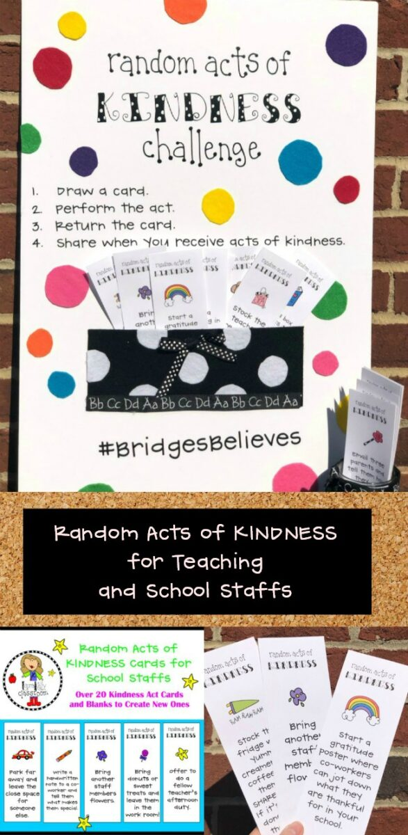 Teacher Staff Random Acts of Kindness Challenge and Cards