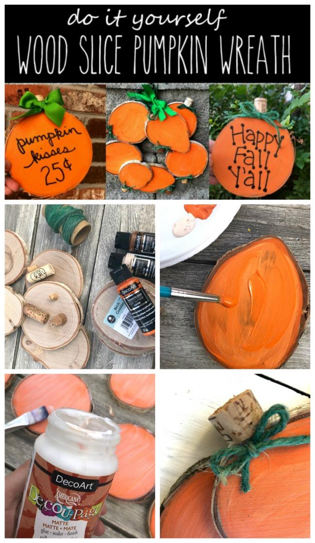 DIY Handpainted Wood Slice Pumpkins